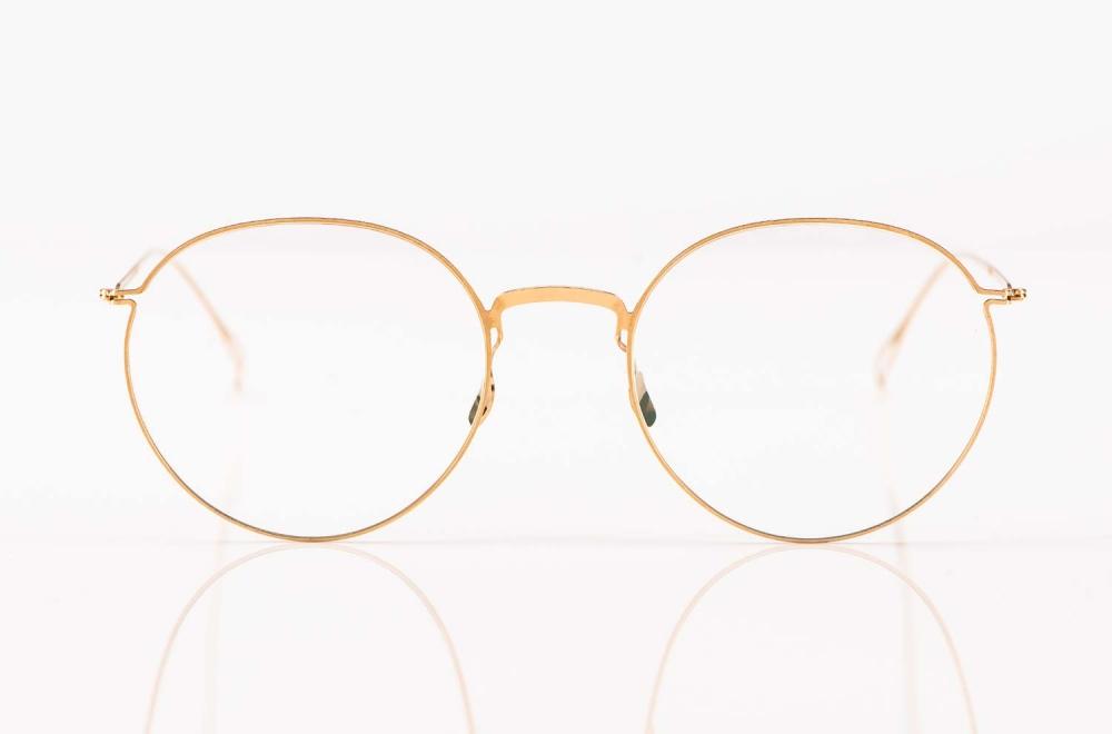 Haffmans & Neumeister – matt goldene Pantobrille aus Edelstahl – KITSCHENBERG Brillen