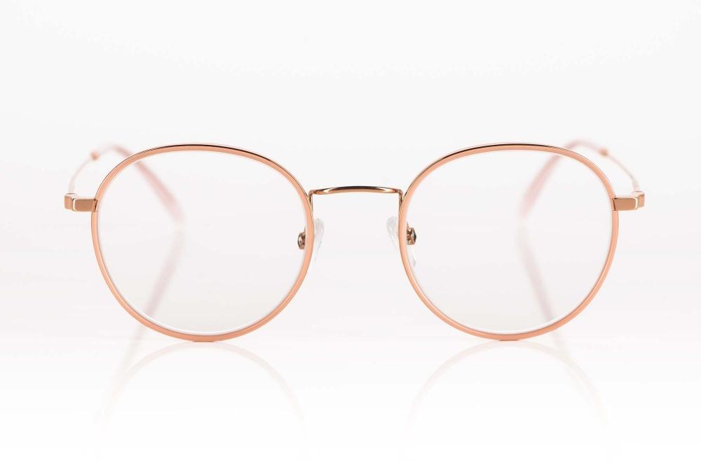 Hamburg Eyewear – rosegoldene Pantobrille mit rosefarbigem Acetat Ring – KITSCHENBERG Brillen