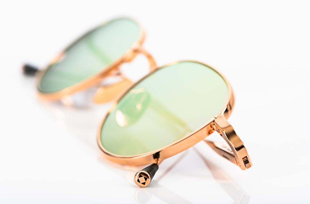 Lunetterie Générale – goldene Metall Sonnenbrille mit verspiegeltem Glas - KITSCHENBERG Brillen