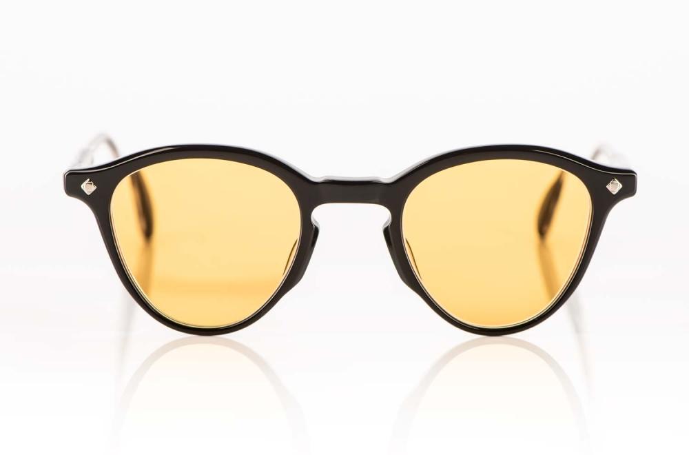Lunetterie Generale – Sonnenbrille - schwarze Panto Brille mit gelb orangenen Gläsern – KITSCHENBERG Brillen