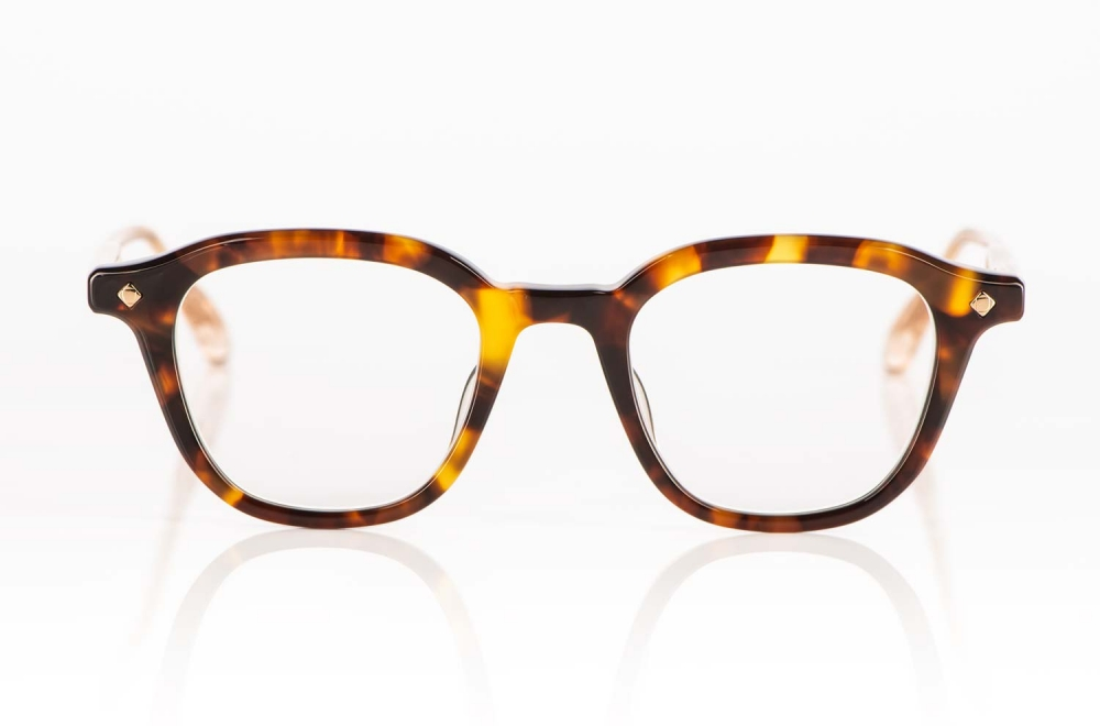 Lunetterie Generale – gesprenkelte bernsteinfarbige Acetat Brille in schildpatt Optik - KITSCHENBERG Brillen