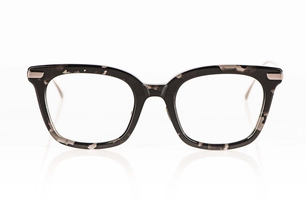 Lunetterie Generale – anthrazit gesprenkelte Acetat Bille mit angesetzten Titan Bügeln handgemacht in Japan - KITSCHENBERG Brillen
