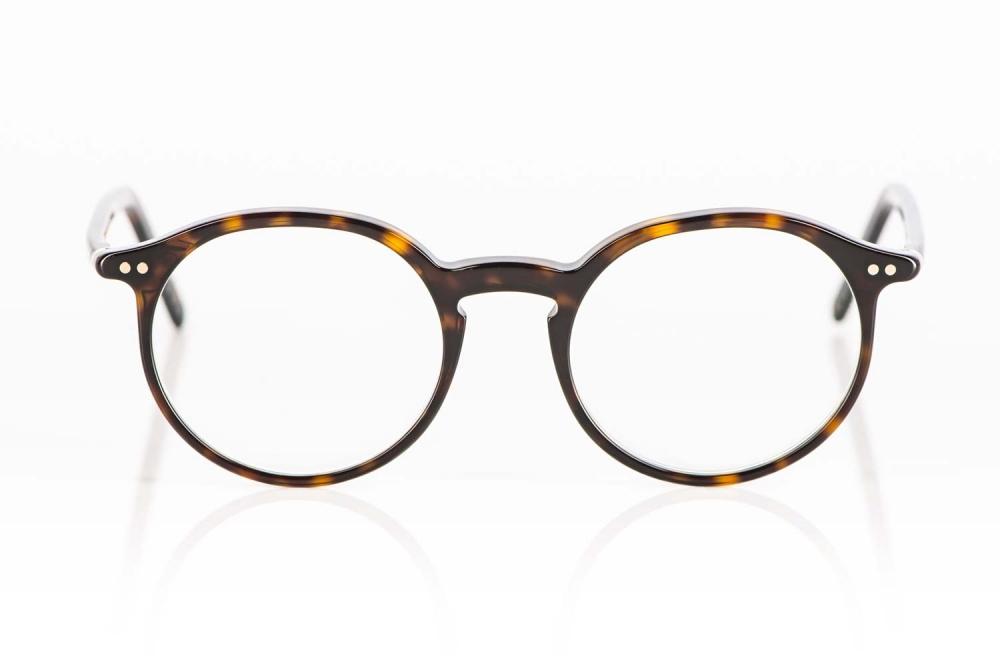 Lunor – runde Panto Brille aus Acetat in braun gesprenkelt mit handgenieteten Scharnieren - KITSCHENBERG Brillen