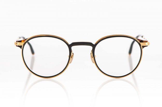 Masunaga – ziselierte goldene Titan Metall Panto Brille mit schwarz braunem Acetat Einlagen - KITSCHENBERG Brillen