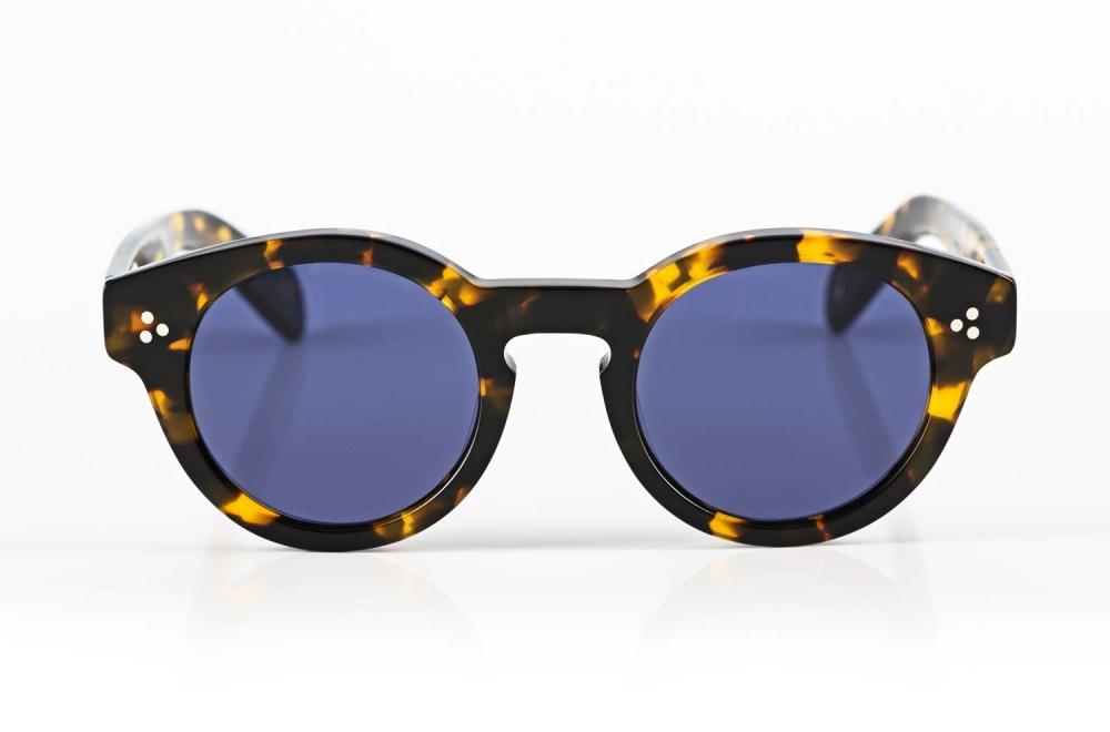 Moscot – dicke klassische Acetat Sonnenbrille in Havanna mit blauen Gläsern - KITSCHENBERG Brillen