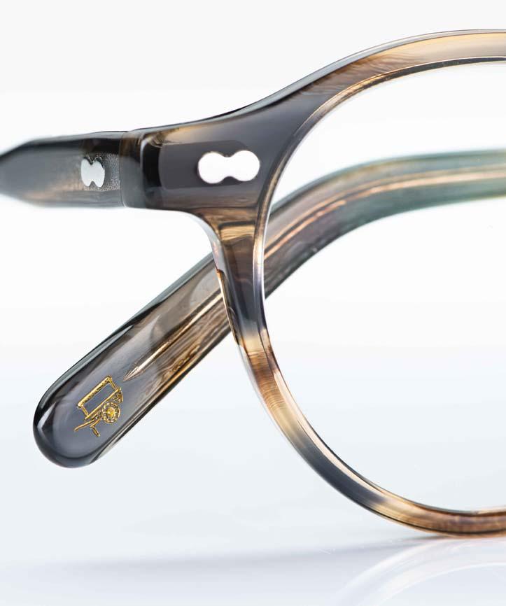 Moscot – Panto Brille im Stil der 1930er Jahre aus graubraunem Acetat mit Rundkopfnieten - KITSCHENBERG Brillen