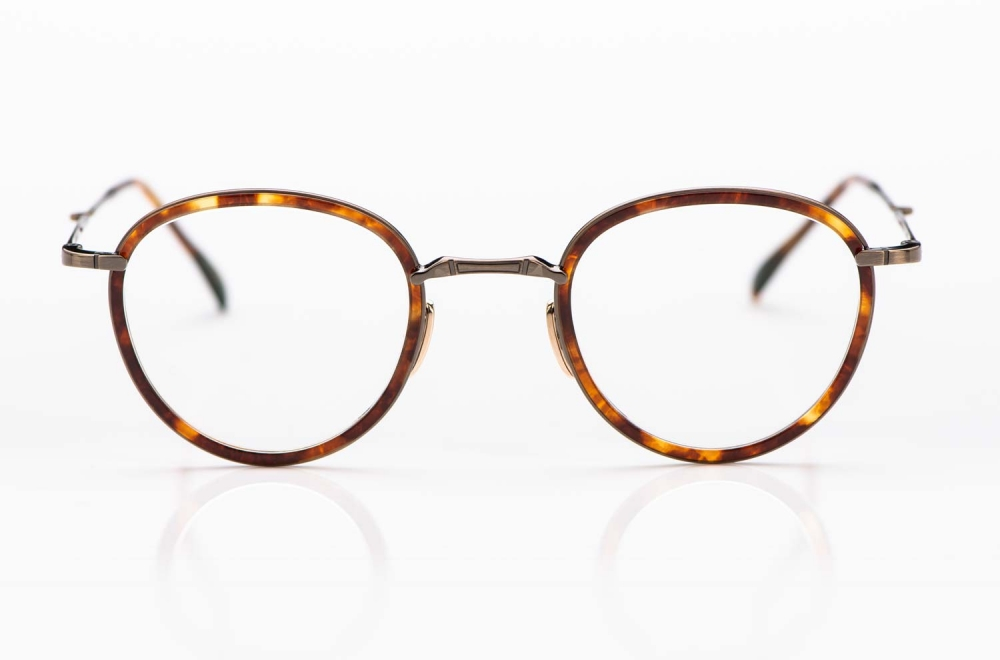 Mr. Leight – runde Titan Panto Brille in Gold mit Acetat Ringen in braun - KITSCHENBERG Brillen