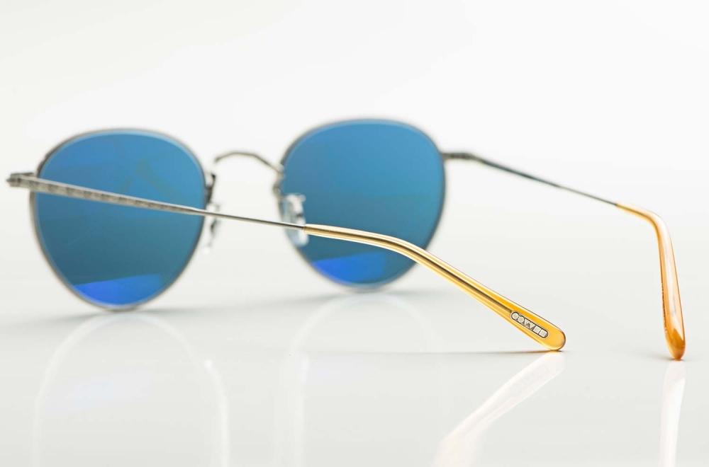 Oliver Peoples – Sonnenbrille - MP2 - antik silberne ziselierte Metall Panto Brille mit blauen Gläsern - KITSCHENBERG Brillen