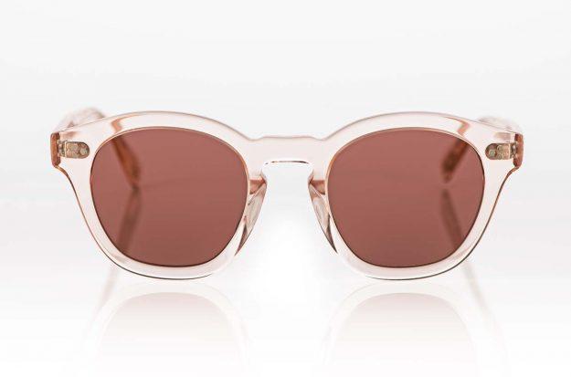 Oliver Peoples – Sonnenbrille – rose transparente breitrandige Acetat Brille mit rot verspiegelten Gläsern - KITSCHENBERG Brillen