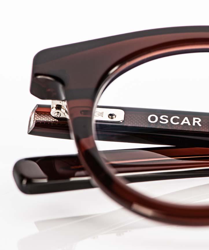 Oscar Magnuson – handgearbeitetes Bügel Gelenk an einer braunen Kunststoff Brille - KITSCHENBERG Brillen