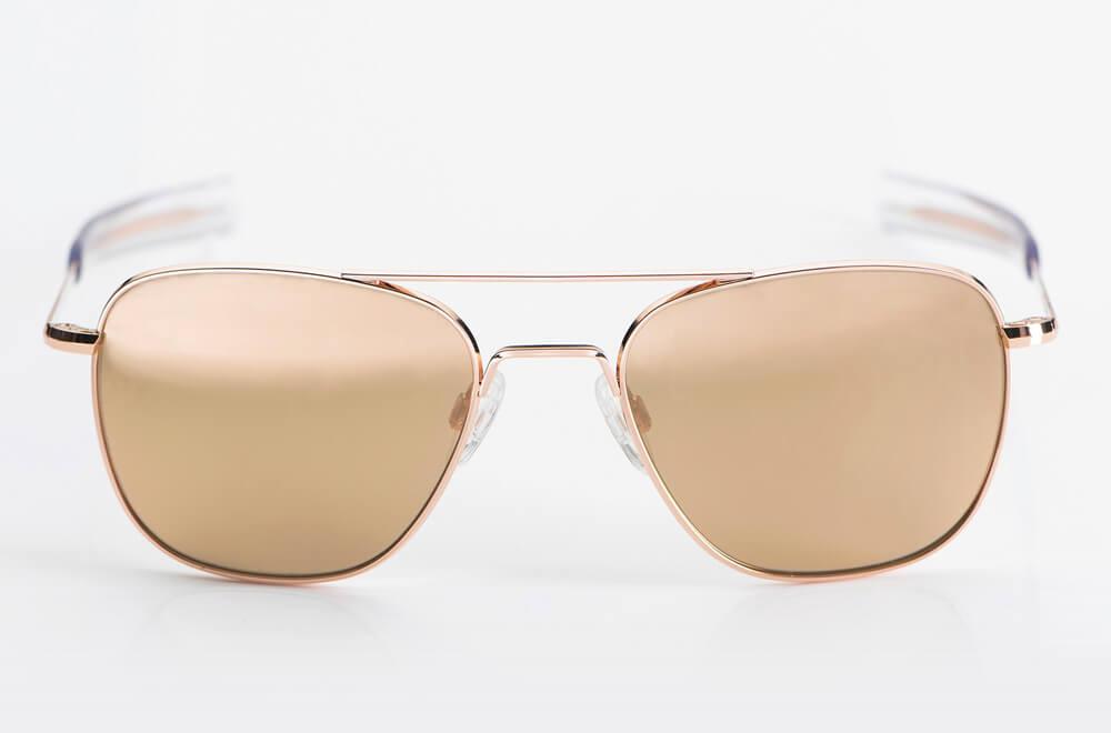 Randolph – Sonnenbrille – Original Pilotenbrille der US Airforce aus Gold mit verspiegelten Gläsern - Aviator USA - KITSCHENBERG Brillen