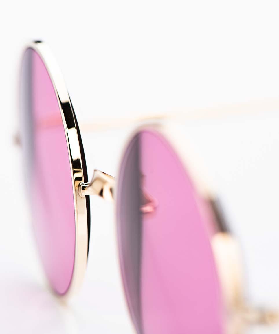 Savile Row- Algha – Runde glänzend goldene Brille aus Golddublee mit hellen rose Sonnengläsern - KITSCHENBERG Brillen
