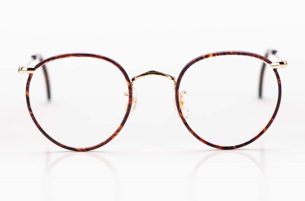 Savile Row- Algha – Panto Brille aus Golddublee mit braun gesprenkeltem Acetat Windsorring gefertigt in England - KITSCHENBERG Brillen
