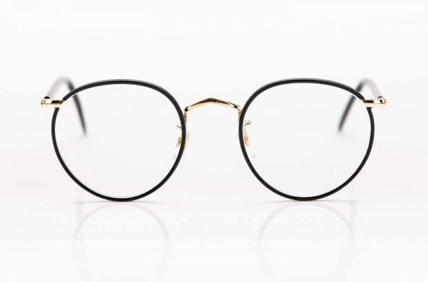 Savile Row- Algha – Panto Brille aus Golddublee mit matt schwarzem Windsorring aus Acetat - KITSCHENBERG Brillen