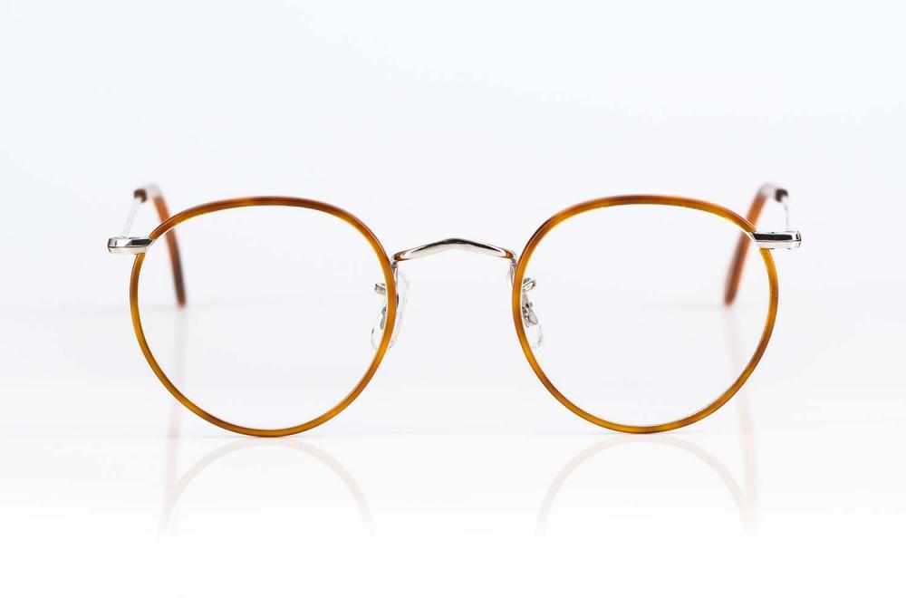 Savile Row – silberne Panto Brille mit bernsteinfarbigem Acetat produziert in London - KITSCHENBERG Brillen