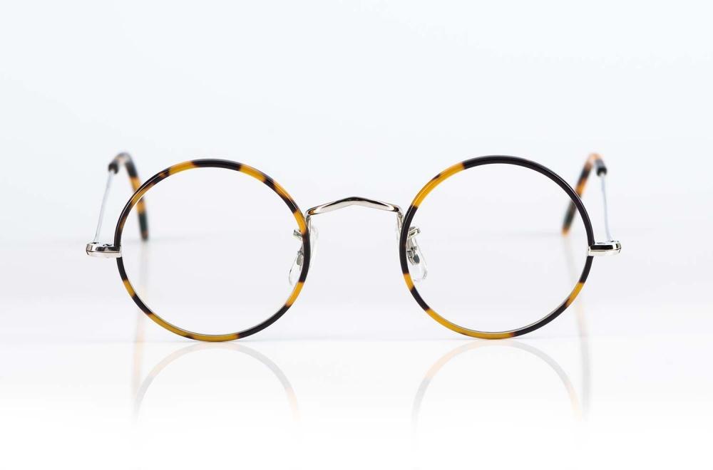 Savile Row – in England gefertigte klassische runde Brille in silber mit tortoise farbigem Acetat - KITSCHENBERG Brillen