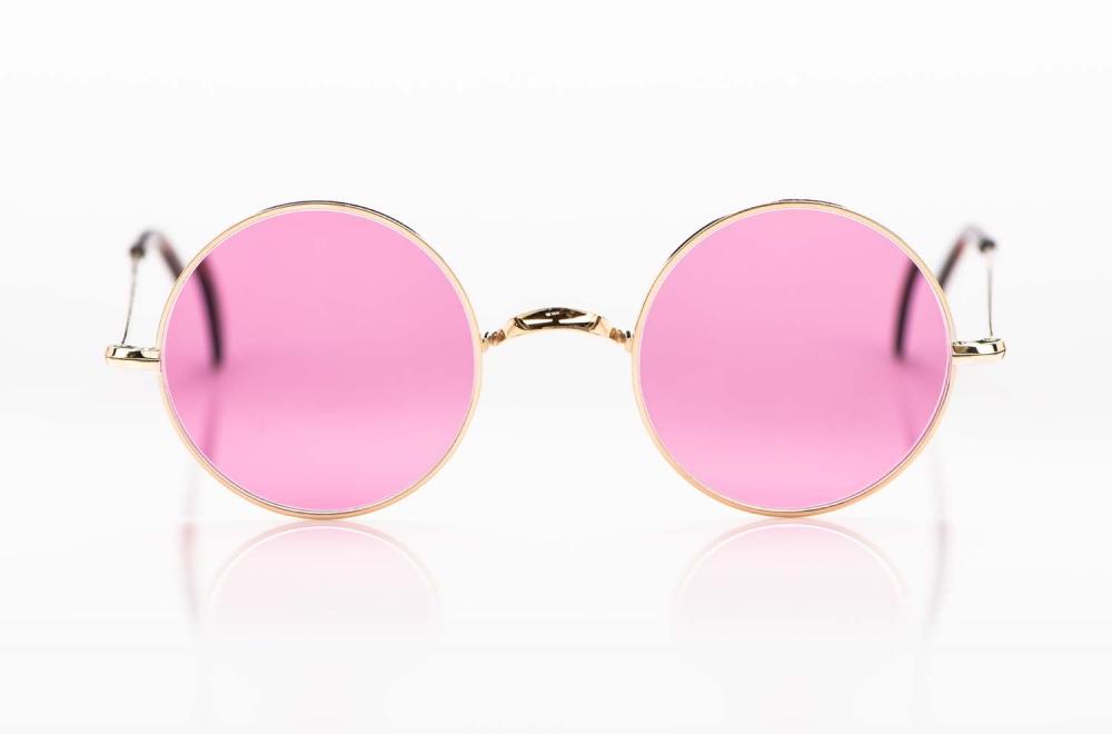 Savile Row- Algha – Sonnenbrille - Runde Brille aus Metall in Golddublee mit rosefarbigen Sonnengläsern - KITSCHENBERG Brillen
