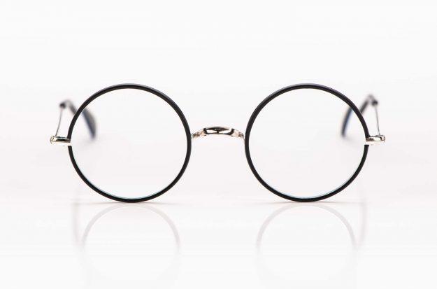 Savile Row- Algha – Harry Potter runde Brille rhodiniert in silber mit matt schwarzem Windsorring aus Acetat - KITSCHENBERG Brillen