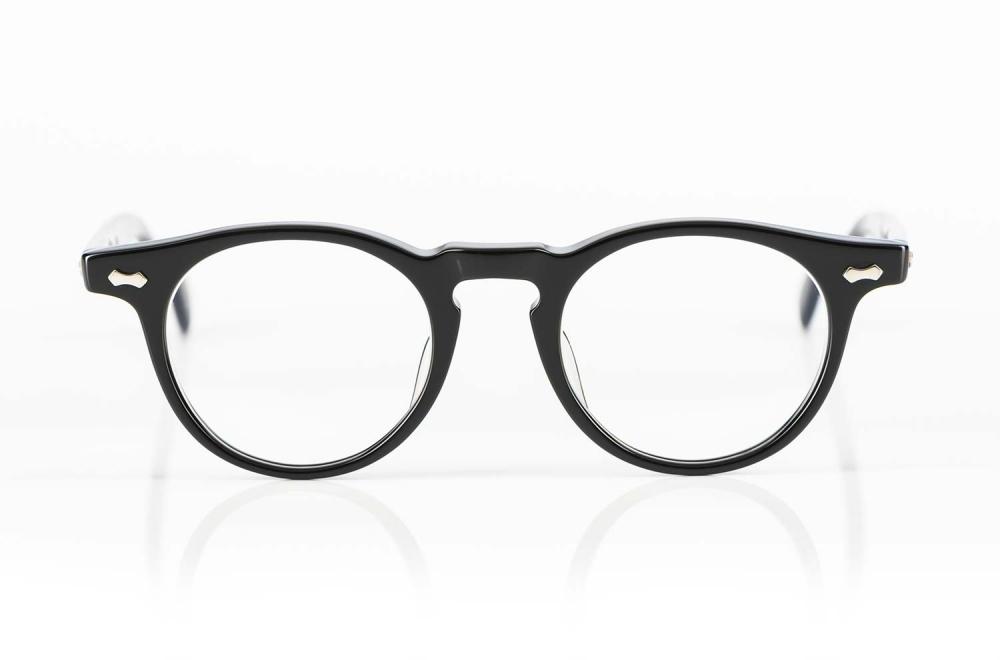 TVR – True Vintage Revival – schwarze Vintage Panto Acetat Brille mit genieteten Scharnieren in Japan von Hand produziert - KITSCHENBERG Brillen
