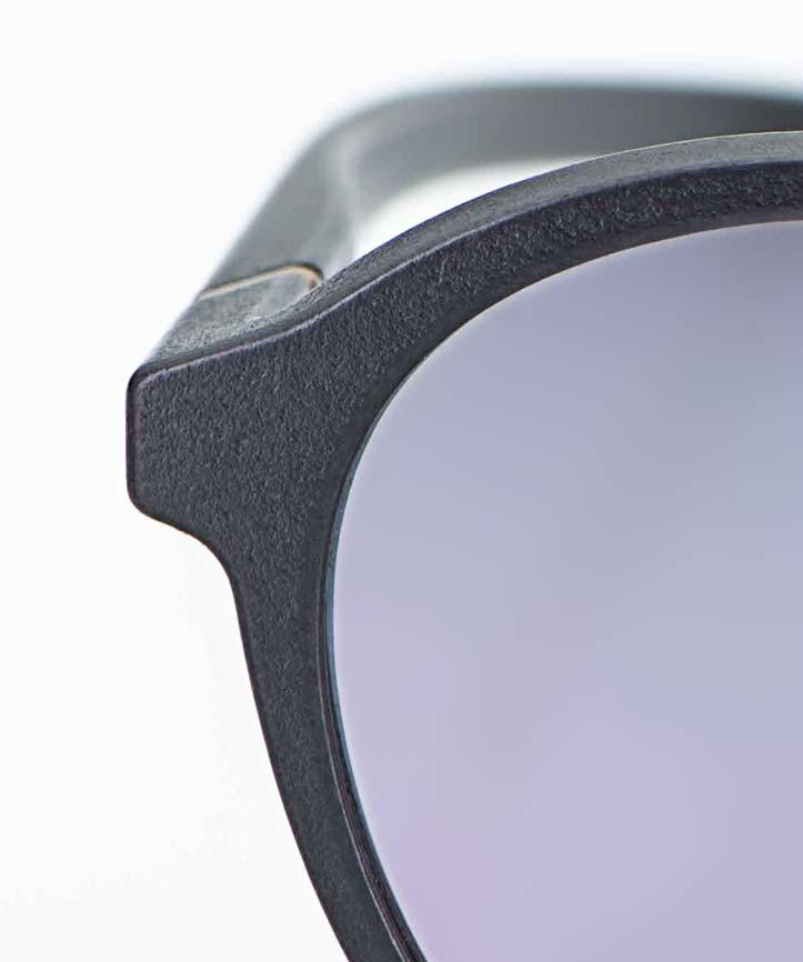 Voyou – Sonnenbrille – runde blau graue 3D-gedruckte Brille mit rose flamingo farbigen verspiegelten Gläsern - KITSCHENBERG Brillen