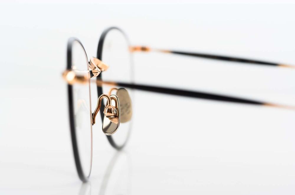 Yellows Plus – Titan Pantobrille in rosegold mit schwarz in Japan gefertigt - KITSCHENBERG Brillen