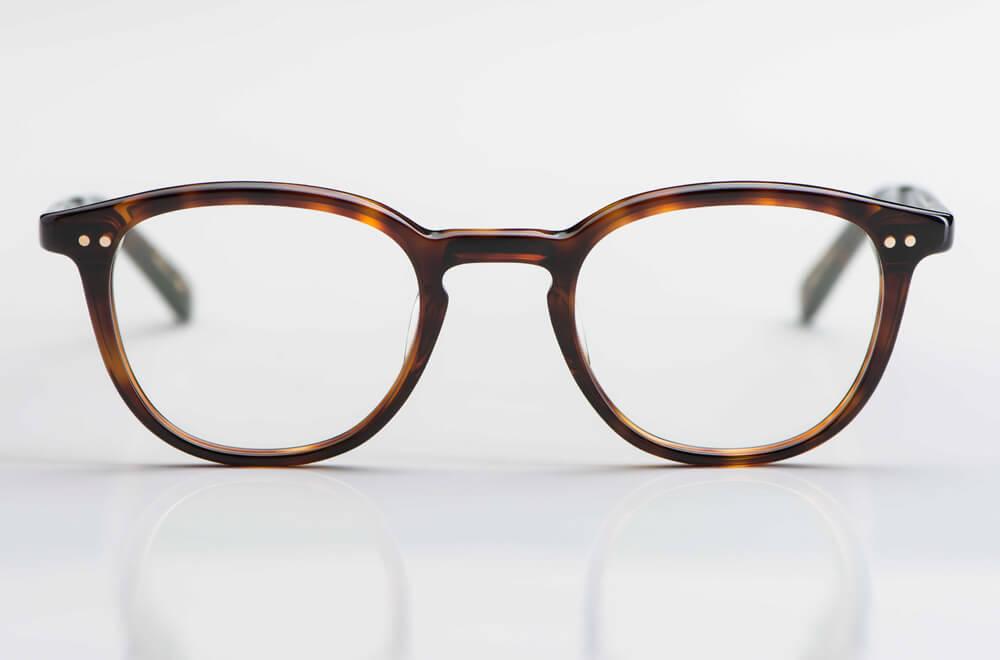 Yellows Plus – braun gesprenkelte Vintage Brille aus Kunststoff mit Nieten hergestellt in Japan - KITSCHENBERG Brillen