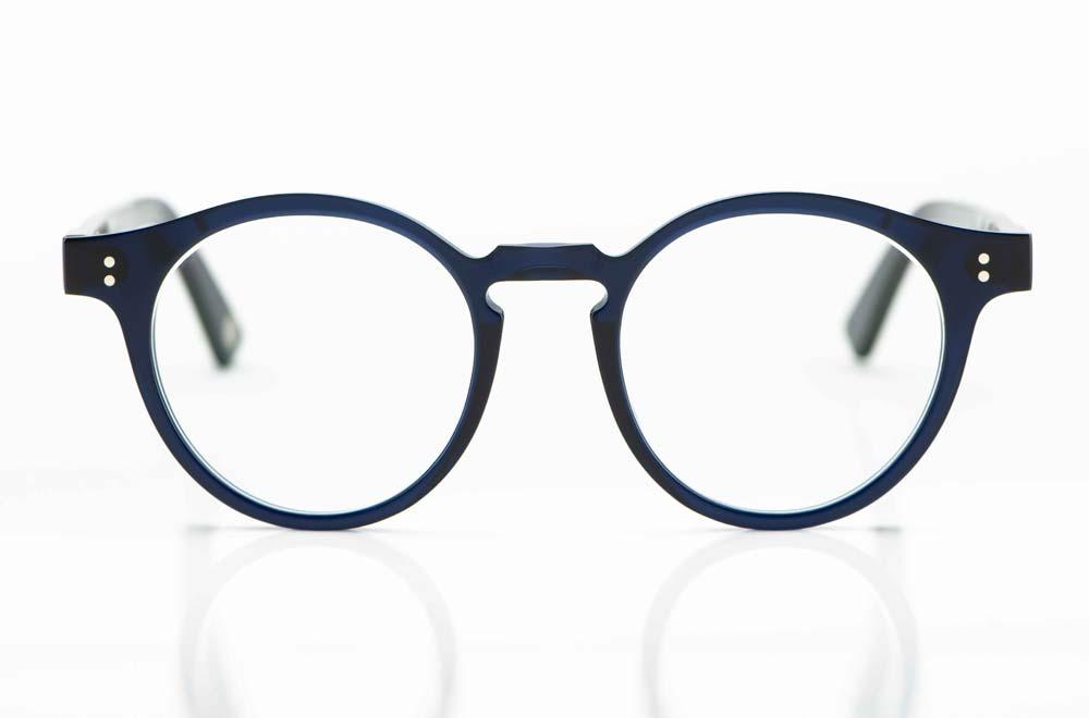 Ahlem – runde Brille aus tief dunkelblauem Kunststoff mit Nietgelenken - KITSCHENBERG Brillen
