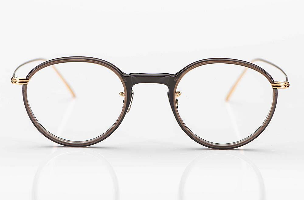 Eyevan – tobe farbige Brille aus Acetat mit Stegen und Bügeln aus goldenem Metall - KITSCHENBERG Brillen