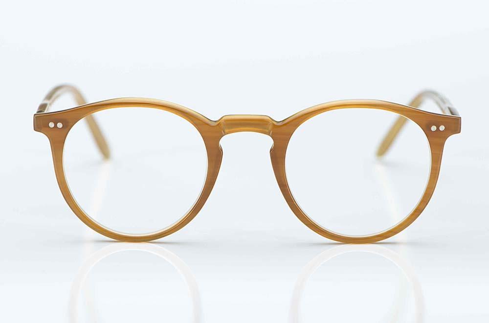 Kitschenberg Horn – Büffelhorn Panto Brille in hellem karamell braun mit Rundkopfnieten – KITSCHENBERG Brillen