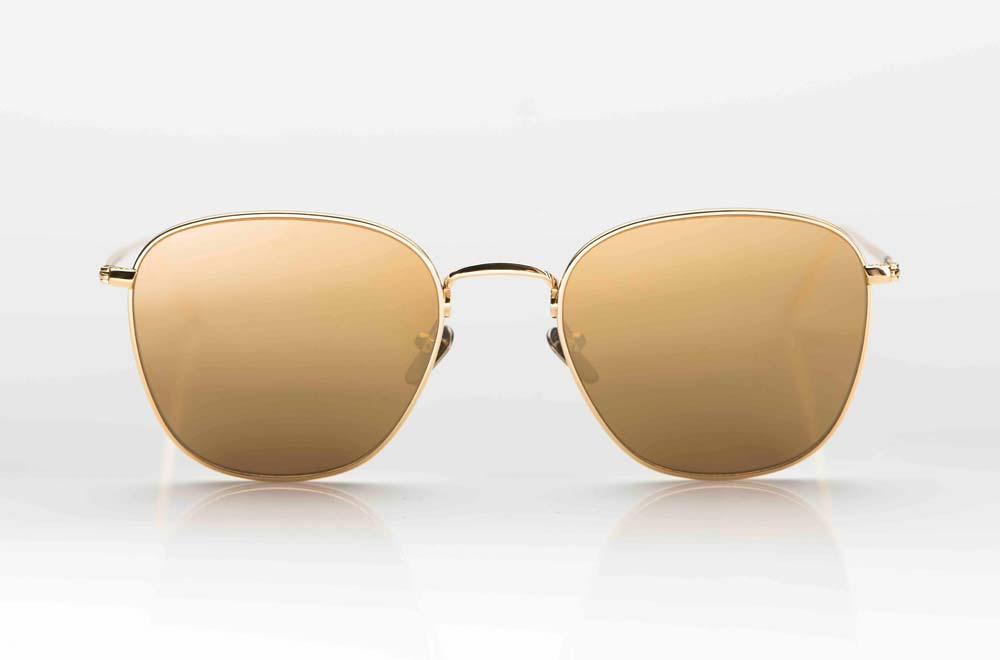 Massada – Sonnenbrille – große eckige Titan Brille in gold mit golden verspiegelten Gläsern - KITSCHENBERG Brillen
