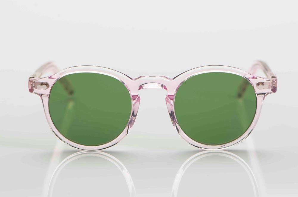 Moscot – Sonnenbrille – rose transparente Panto Brille mit grünen Silikat Gläsern - KITSCHENBERG Brillen