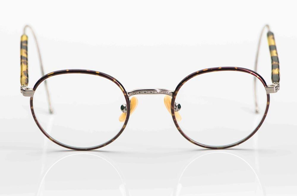 Moscot – braun gesprenkelte Panto Metall Brille mit perlmuttfarbigen Stegen - KITSCHENBERG Brillen