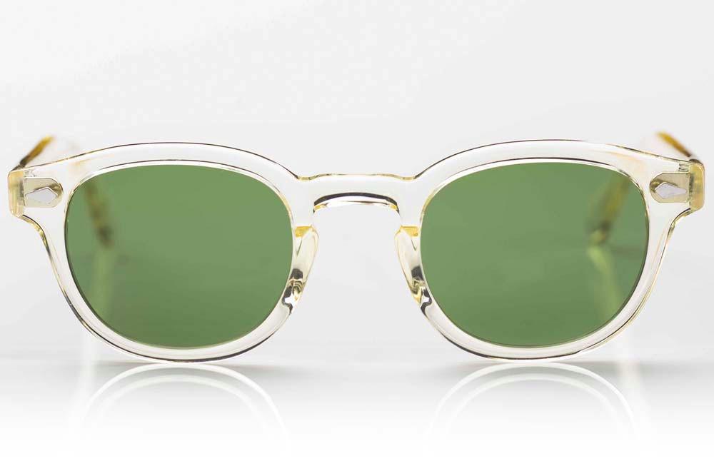 Moscot – Sonnenbrille – gelb transparente Fassung mit Nietriegel und grünen Gläsern - KITSCHENBERG Brillen