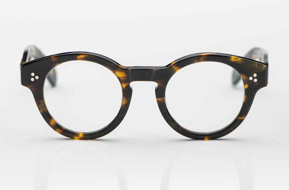 Moscot – breitrandige, runde Acetat Brille mit 3-Punkt Nieten in dunkel havanna - KITSCHENBERG Brillen