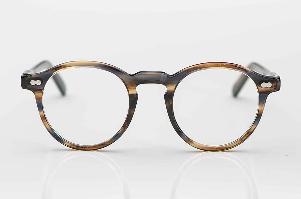 Moscot – Panto Brille aus graubraunem Kunststoff mit Nieten - KITSCHENBERG Brillen