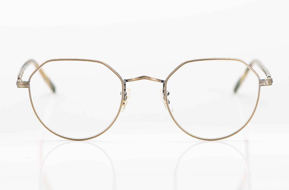 Oliver Peoples – antik goldene Metall Panto mit oben eckiger Kronen Form - KITSCHENBERG Brillen