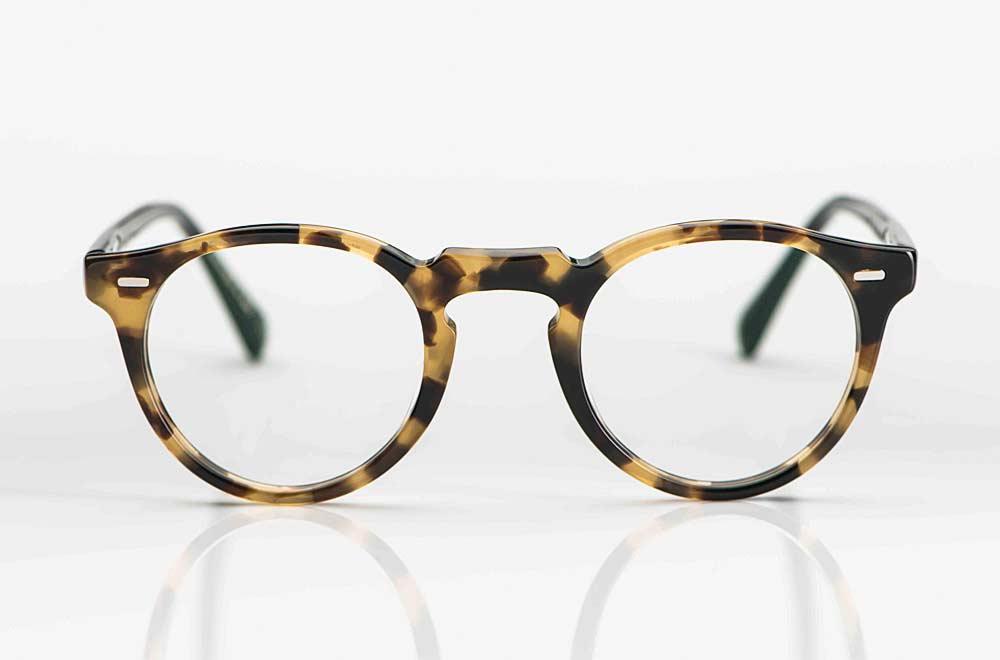 Oliver Peoples – runde Panto Form aus tortoise farbigem Acetat mit eckigem Nietriegel und Schlüssellochsteg - KITSCHENBERG Brillen