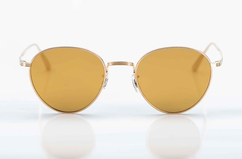 Oliver Peoples – Sonnenbrille – Matt goldene Metall Pantobrille mit Gold verspiegelten Gläsern - KITSCHENBERG Brillen