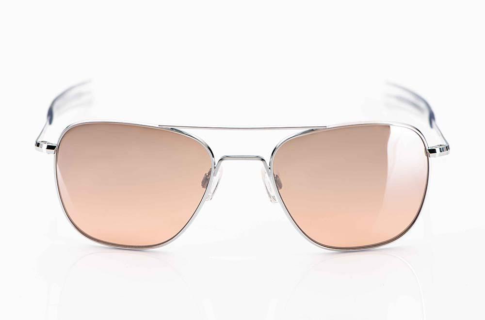 Randolph – Sonnenbrille – Aviator Pilotenbrille mit Doppelsteg und Steckbügel in silber aus den USA - KITSCHENBERG Brillen