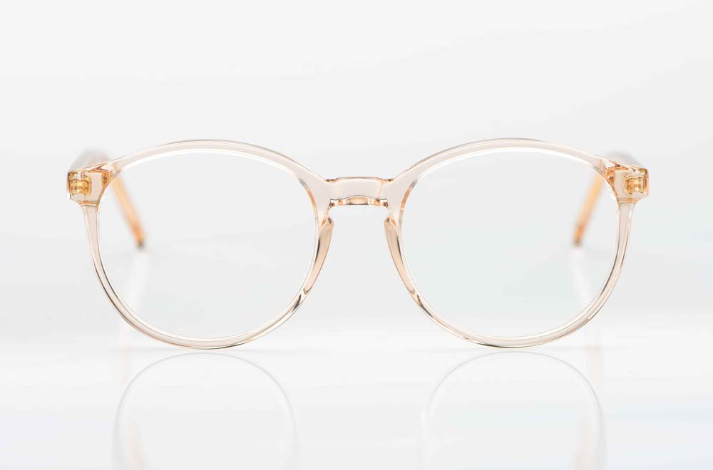Reiz – schlichte große runde Acetatbrille aus rose transparentem Kunststoff - KITSCHENBERG Brillen