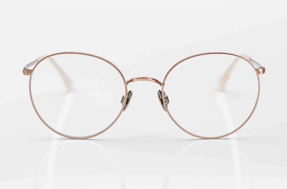 Willems – große runde Metallbrille in rose gold mit Titan Pads- KITSCHENBERG Brillen
