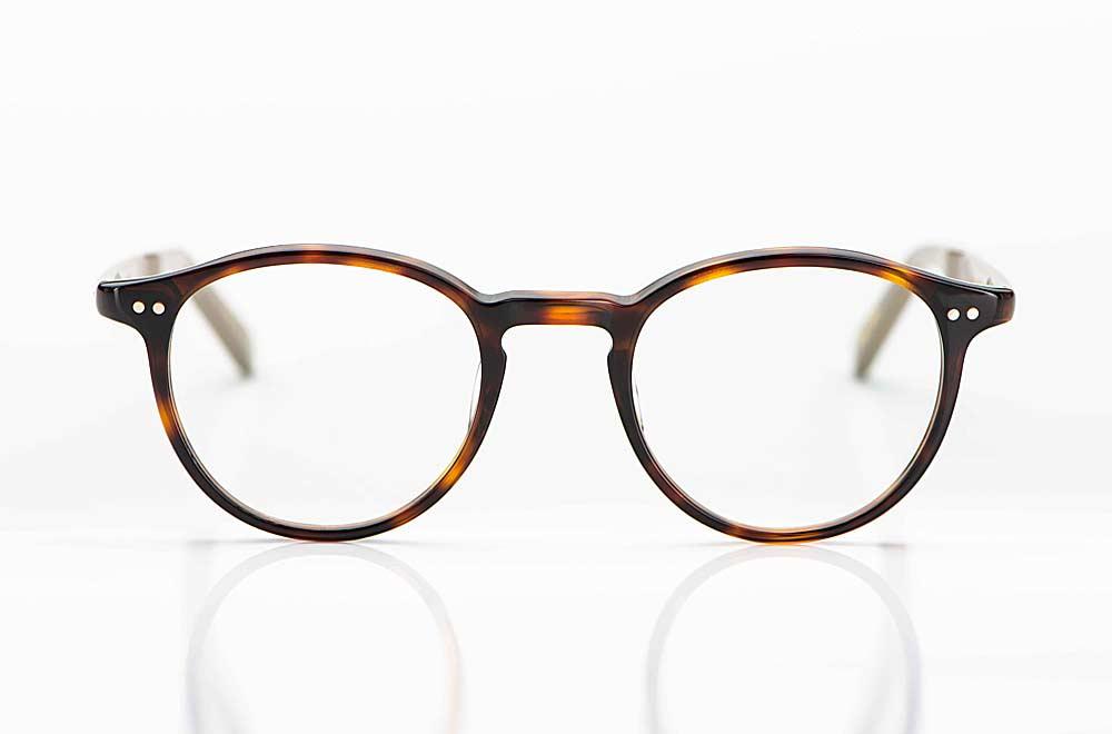 Yellows Plus – japanische Acetat Panto Brille mit Nieten in rötlichem tortoise - KITSCHENBERG Brillen